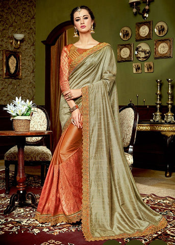 BEIGE & ORANGE JACQUARD SILK DESIGNER SAREE ONLINE