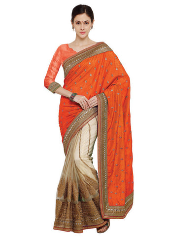 BEIGE & ORANGE SILK CREPE NET SAREE ONLINE - HALF N HALF SAREE