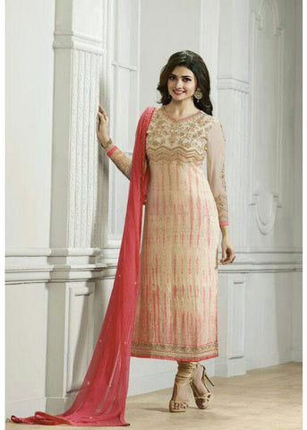 BEIGE & PEACH GEORGETTE INDIAN SALWAR KAMEEZ ONLINE