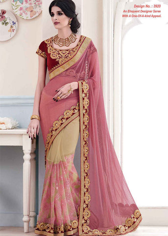 BEIGE & PEACH LYCRA NET SAREE - WOMENS PARTY SAREE ONLINE