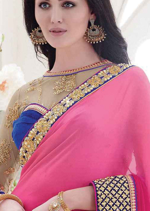 BEIGE & PINK MULTI FABRICS SAREE - WOMENS PARTY SAREE ONLINE