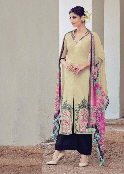 BEIGE PURE SOFT COTTON SATIN READYMADE SALWAR KAMEEZ SUIT-FREE SHIPPING USA CANADA