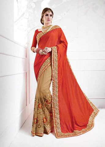 BEIGE & RED SOFT SILK NET SAREE - NEW SAREE ONLINE