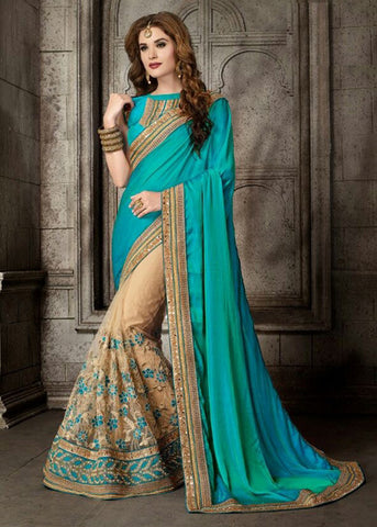 BEIGE & SEA GREEN SILK NET SAREE WITH EMBROIDERY WORK ONLINE