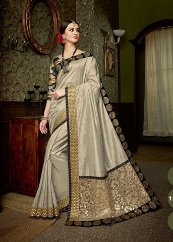 BEIGE SILK DESIGNER PARTY SAREE