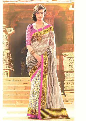 BEIGE & YELLOW BHAGALPURI SILK SAREE - CHEAP SAREE ONLINE