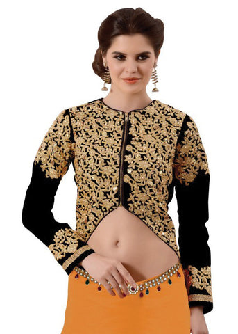 BLACK ART SILK READYMADE DESIGNER SAREE BLOUSE