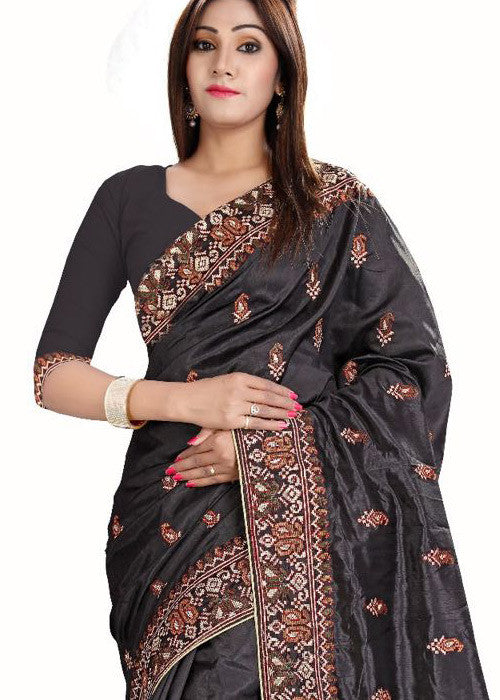 BLACK ART SILK SAREE WITH EMBROIDERY WORK ONLINE - FREE SHIPPING USA CANADA