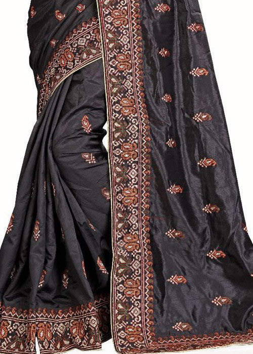 BLACK ART SILK SARI WITH EMBROIDERY WORK ONLINE - LOW PRICE