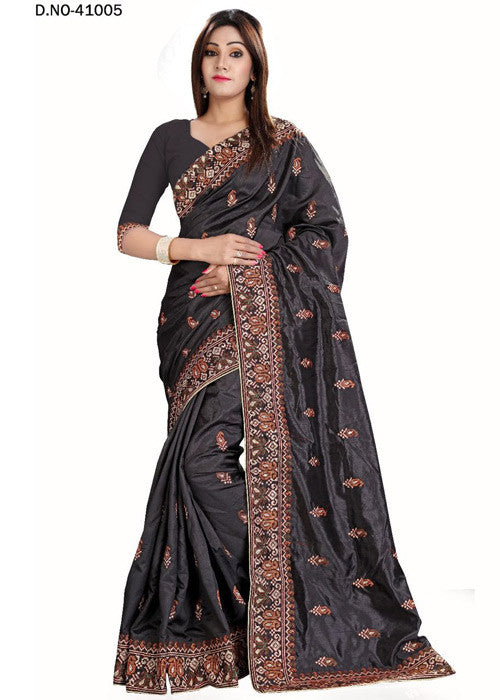 BLACK ART SILK SAREE WITH EMBROIDERY WORK ONLINE - LOW PRICE