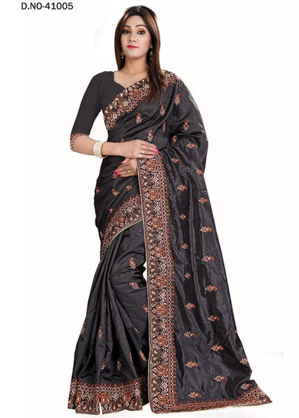 BLACK ART SILK SAREE WITH EMBROIDERY WORK ONLINE - HOT DEAL