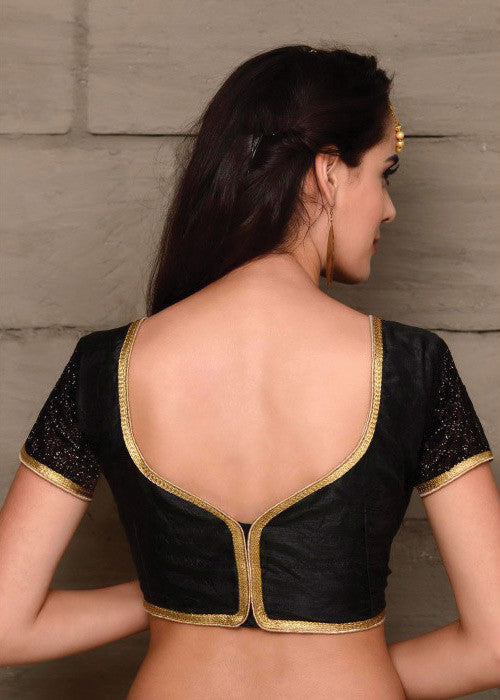BLACK BANGLORI SILK READYMADE SAREE BLOUSE