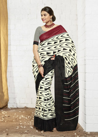 BLACK & CREAM ART SILK SAREE - CHEAP SAREE ONLINE