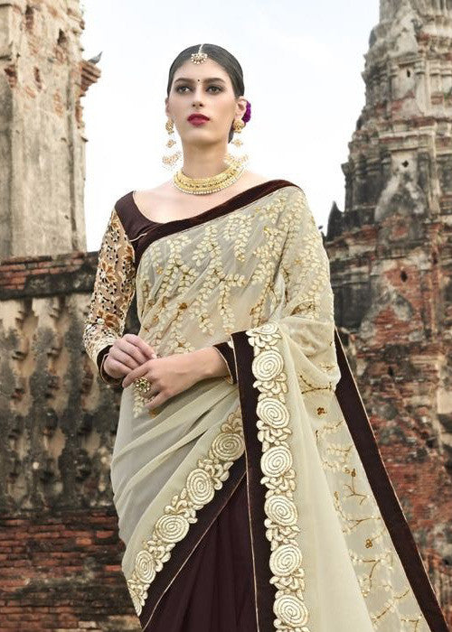 BLACK & CREAM GEORGETTE SAREE WITH EMBROIDERY WORK - BEST PRICE