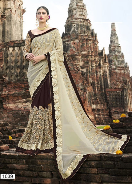 LATEST BLACK & CREAM GEORGETTE NET SAREE WITH EMBROIDERY WORK