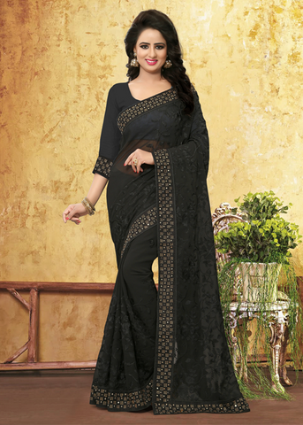 BLACK GEORGETTE STONE WORK PARTY SAREE ONLINE