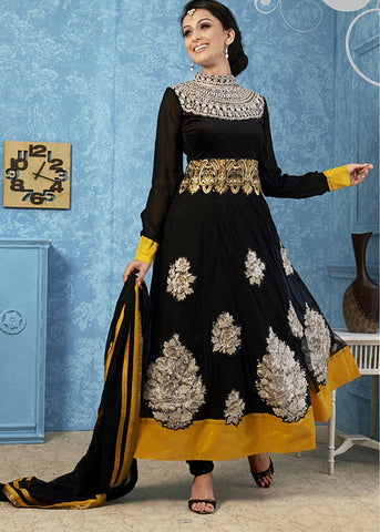 STONE WORKED BLACK NET ANARKALI SUIT ONLINE