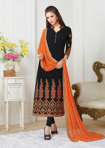 Black & Orange georgette designer Indian Salwar Suits Online Shopping for Women