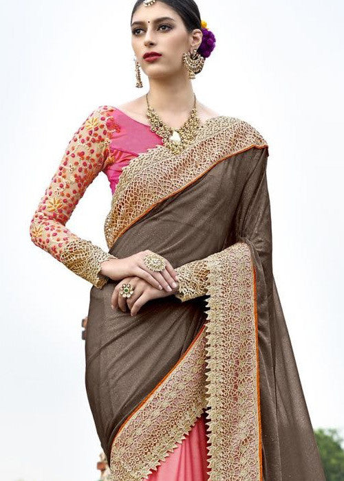 LATEST BLACK & PINK GEORGETTE NET SAREE PARTY WEAR AT LOW PRICE