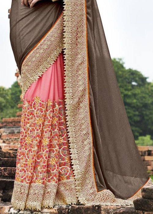 BLACK & PINK GEORGETTE NET SAREE ONLINE USA CANADA
