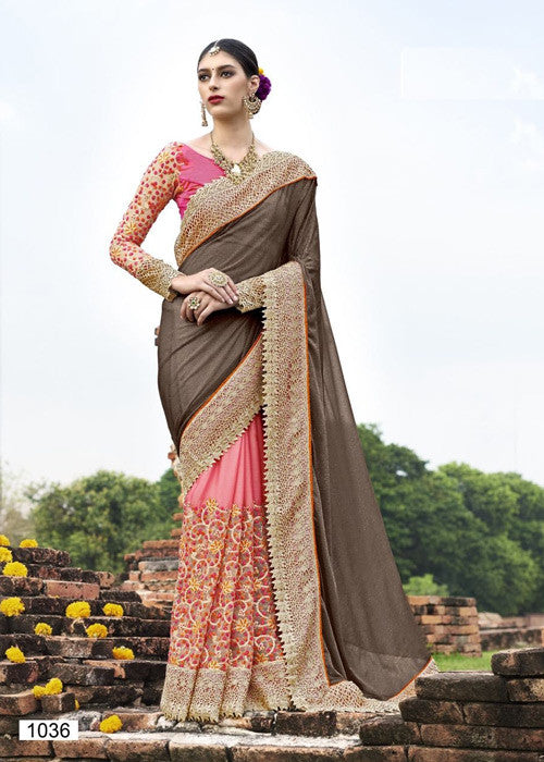 BLACK & PINK GEORGETTE SAREE PARTY WEAR ONLINE