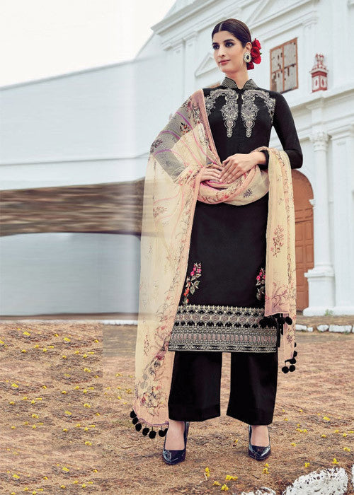 BLACK PURE SOFT COTTON SATIN READYMADE SALWAR KAMEEZ SUIT