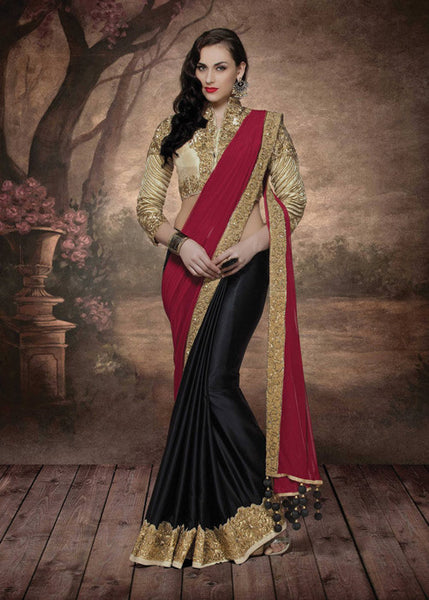 CLASSY BLACK & RED SILK GEORGETTE LYCRA SAREE - NEW DESIGN