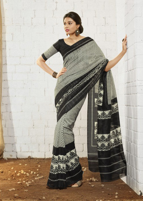 PERFECT BLACK & WHITE ART SILK SAREE - CHEAP SAREE ONLINE