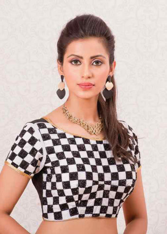 BLACK & WHITE BANGLORI SILK READYMADE DESIGNER BLOUSE