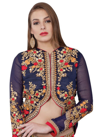 BLUE ART SILK READYMADE BLOUSE SHOP ONLINE