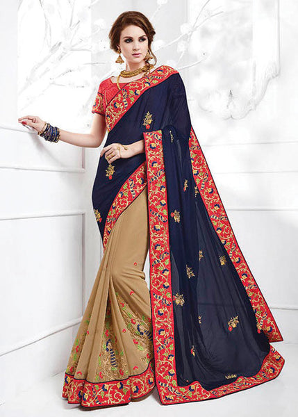 VIBRANT BLUE & BEIGE PURE CHIFFON GEORGETTE SAREE - NEW SAREE ONLINE