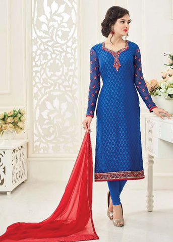 ONLINE SALWAR SHOPPING WITH USA SHIPPING - BLUE BRASSO SALWAR KAMEEZ