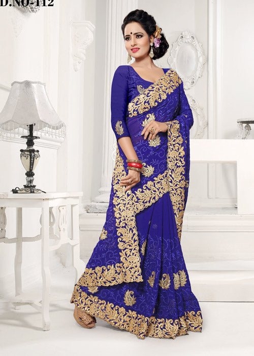 BLUE FAUX GEORGETTE SAREE ONLINE USA SHOPPING