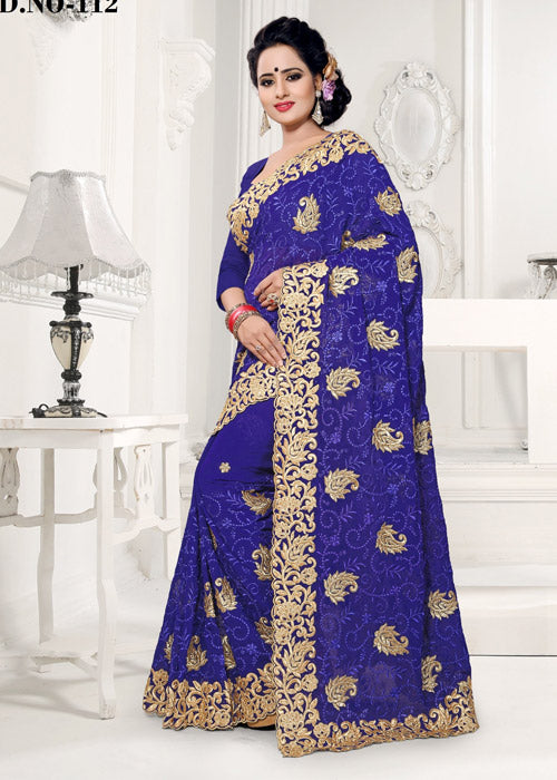 BLUE FAUX GEORGETTE SAREE ONLINE USA FREE SHIPPING