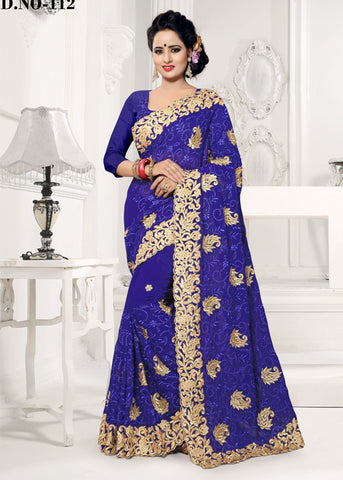BLUE FAUX GEORGETTE SAREE ONLINE