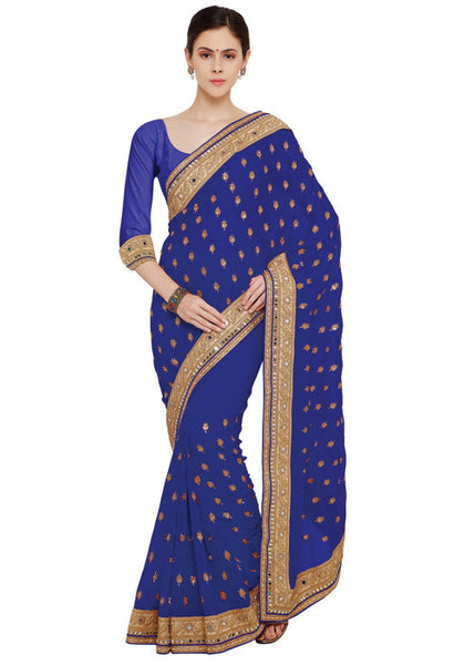 ANGELIC BLUE NEW GEORGETTE SAREE SALE ONLINE