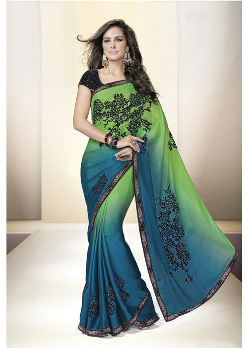 GREEN SATIN GEORGETTE LATEST INDIAN SAREE