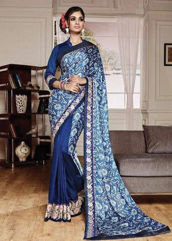 BLUE NET SILK GEORGETTE SAREE - INDIAN SARI ONLINE