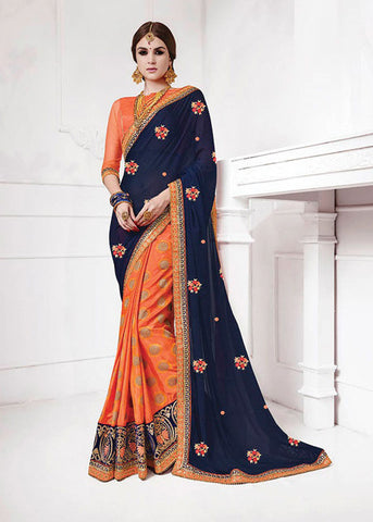 BLUE & ORANGE PURE SOFT SILK JACQUARD SAREE - WOMENS PARTY SAREE ONLINE