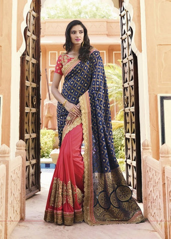 BLUE & PINK BANARASI VISCOSE SATIN CHIFFON SAREE