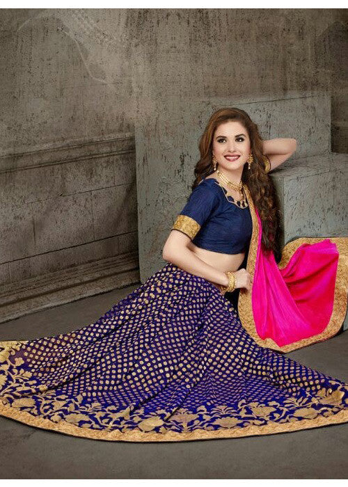 BLUE & PINK PURE VISCOSE SILK SAREE WITH EMBROIDERY BORDER