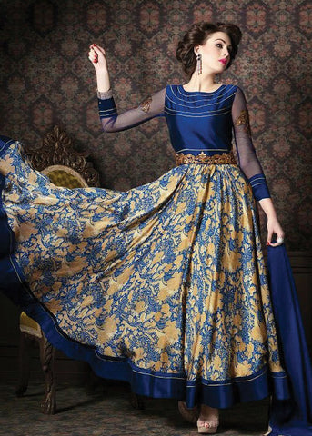 BLUE SATIN ANARKALI SUIT ONLINE SALE