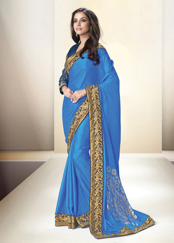 BLUE SATIN SILK ELEGANT INDIAN PARTY SAREE