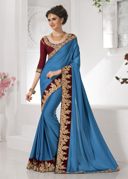 BLUE SHIMMER ART SILK PLAIN SAREE - ELEGANT SAREE ONLINE