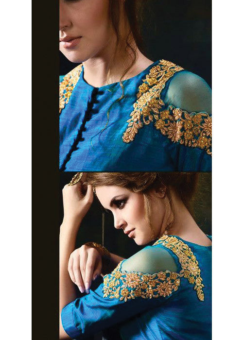 BLUE SILK GEORGETTE NEW STYLISH ANARKALI DRESS ONLINE