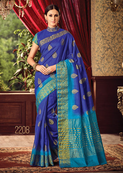 BEAUTIFUL BLUE SILK SAREE ONLINE FOR WOMEN