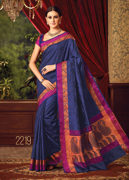 VIBRANT BLUE SILK SAREE ONLINE FOR WOMEN