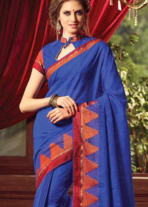 BLUE SILK PLAIN SAREE ONLINE FOR WOMEN