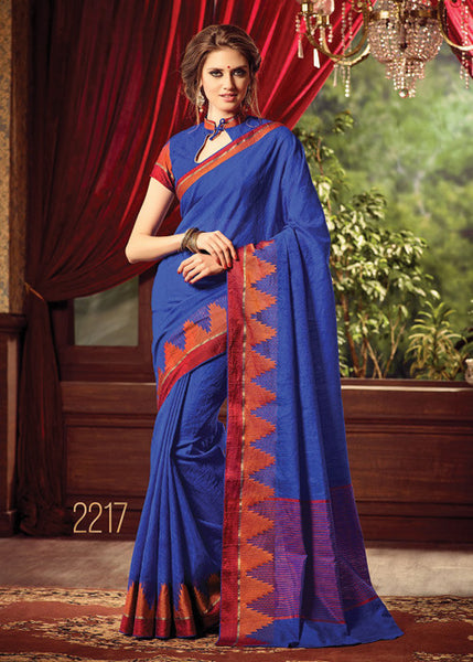 PERFECT PLAIN BLUE SILK SAREE ONLINE FOR WOMEN