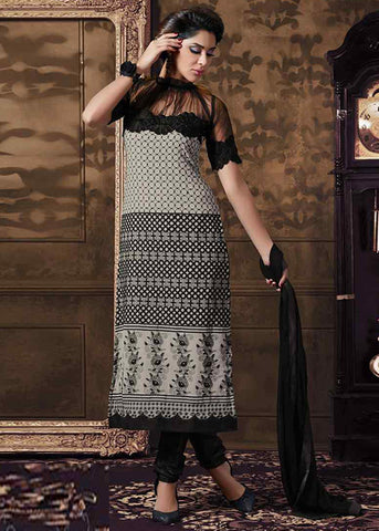 GRAY GEORGETTE SEMI-STITCHED DESIGNER SALWAR SUIT